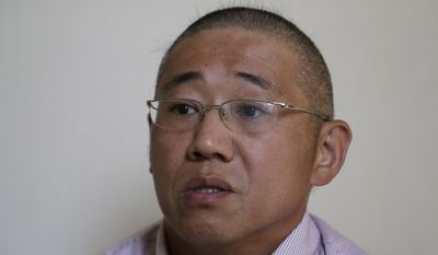 FILE - In this Sept. 1, 2014 file photo, Kenneth Bae speaks to the Associated Press in Pyongyang, North Korea. The US announces Saturday the release of Americans Bae and and Matthew Todd Miller who were detained in North Korea, saying they're on way home. (AP Photo/Wong Maye-E, File)