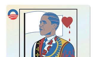 Illustration on Obama's vacilating responses to national security threats by Linas Garsys/The Washington Times