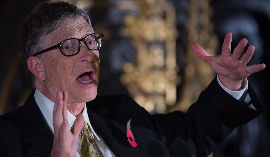 "Bill Gates answers questions after giving a lecture on international aid to parliamentarians and guests in the Robing Room of the House of Lords in the Palace of Westminster, London, Monday, Nov. 10, 2014.  The lecture, called ""The Case for Aid: A Conversation with Bill Gates"" was given on behalf of the Bill & Melinda Gates Foundation and in association with Malaria No More UK, and spoke of the importance of aid in the fight against diseases including malaria and Ebola. (AP Photo/Tim Ireland, Pool)"