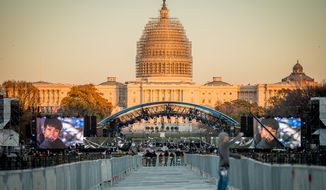 Musicians perform during sound checks the afternoon before the Concert for Valor on the National Mall, Washington, D.C., Monday, November 10, 2014. (Andrew Harnik/The Washington Times)