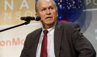 FILE - In this Oct. 24, 2014 file photo, Bill Walker, an independent candidate for Alaska governor, answers a question during a debate in Anchorage, Alaska. State elections officials will begin counting more that 53,000 absentee and questioned ballots Tuesday, Nov. 11, 2014, that will finally decide who won the super-tight race between Walker the independent challenger and Republican Gov. Sean Parnell. (AP Photo/Mark Thiessen, File)