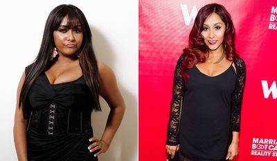 Nicole 'Snooki' Polizzi during her hard partying 'Jersey Shore' days, left, and after her weight loss tranformation.