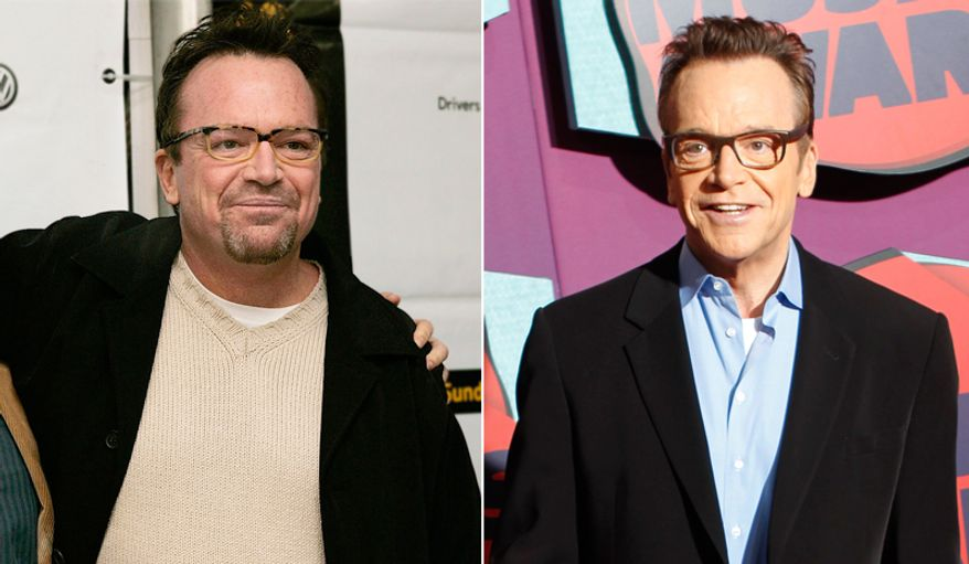 Actor/comedian Tom Arnold seen in a photo from 2005, left, and a photo from this year after his stunning weight loss.