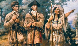 Lewis and Clark (left) pictured with Sacagawea                      The Washington Times