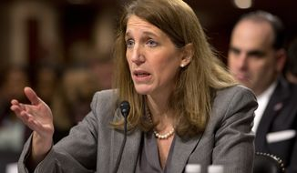 Health and Human Services Secretary Sylvia Burwell testifies on Capitol Hill in Washington, Wednesday, Nov. 12, 2014, before the Senate Appropriations Committee hearing on the government's Ebola response. (AP Photo/Jacquelyn Martin)