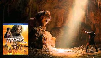 A Nemean Lion challenges a demigod in the film Hercules, now available in Blu-ray.