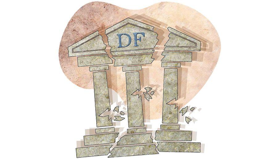 Dodd-Frank Shakey Bank Illustration by Greg Groesch/The Washington Times