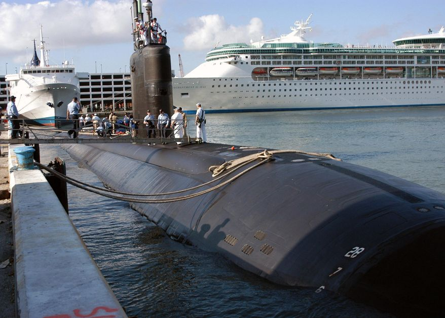 The USS Miami (SSN 755) arrives in port in Fort Lauderdale, Fla., on April 26, 2004. (Associated Press/U.S. Navy, Petty Officer 2nd Class Kevin Langford) **FILE**
