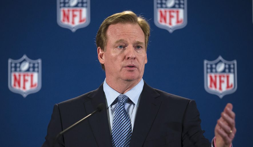 """FILE - In this Oct. 8, 2014, file photo, NFL commissioner Roger Goodell speaks during a news conference following a meeting of NFL owners and executives in New York. The NFL players' union wants to negotiate with the league in changing the personal conduct policy. In a memo sent to each NFLPA player representative and executive board member, and obtained by The Associated Press on Thursday, Nov. 13, 2014, the union cites the NFL's """"mismanagement"""" of several incidents, including the Ray Rice and Adrian Peterson cases. (AP Photo/John Minchillo, File)"""