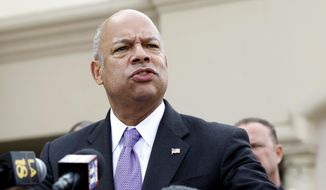 Homeland Security Secretary Jeh Johnson speaks at a news conference following the secretary's visit to the Islamic Center of the San Gabriel Valley in Rowland Heights, Calif., Thursday, Nov. 13, 2014. (AP Photo/Nick Ut) ** FILE **
