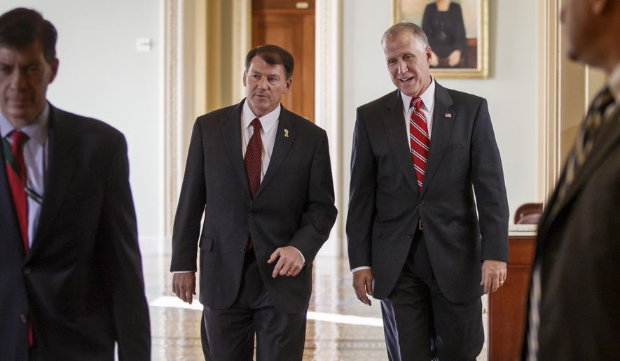 Sen.-elect Mike Rounds, R-S.D., left, and Sen.-elect Thom Tillis, R-N.C., walk through the halls of the U.S. Senate on Capitol Hill in Washington, Wednesday, Nov. 12, 2014, as Congress returned to work for the lame duck session and newly-elected members get their orientationr. (AP Photo/J. Scott Applewhite)