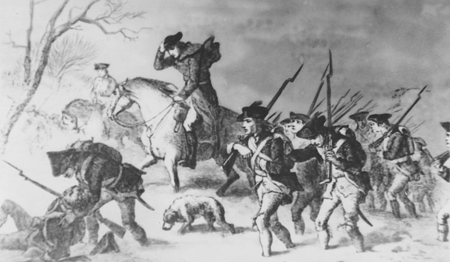 This painting depicts Gen. George Washington and his troops on the march to Valley Forge during the American Revolutionary War.  (AP Photo)