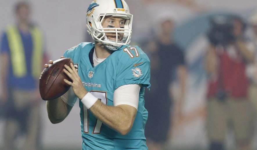Miami Dolphins quarterback Ryan Tannehill drops back to pass during the first half of an NFL football game against the Buffalo Bills, Thursday, Nov. 13, 2014 in Miami Gardens, Fla. (AP Photo/Lynne Sladky)