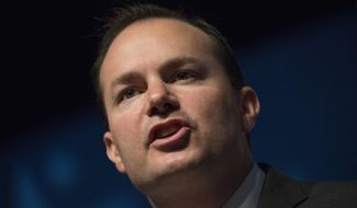 Sen. Mike Lee, Utah Republican used $258,556 of campaign contributions to pay the salary for Benjamin James Burr, his wife's nephew. (AP Photo/Jacquelyn Martin, File)
