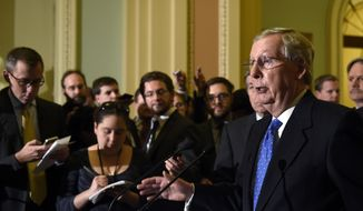 Senate Minority Leader Mitch McConnell of Ky., speaks to reporters on Capitol Hill in Washington, Thursday, Nov. 13, 2014, after Senate Republicans voted on leadership positions for the 114th Congress.. (AP Photo/Susan Walsh)