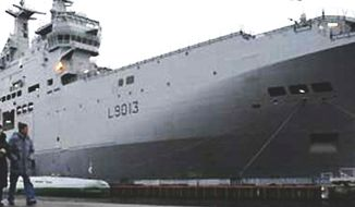 A Mistral French amphibious assault ship docked in St. Petersburg, Russia. (Associated Press) ** FILE **