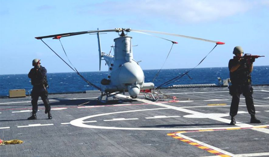A drone sits aboard the The USS Fort Worth. (Image: Facebook, USS Fort Worth)