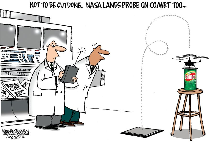 Not to be outdone, NASA lands probe on Comet too ... (Illustration by Walt Handelsman of The New Orleans Advocate)