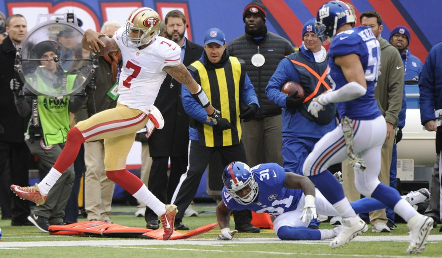 San Francisco 49ers quarterback Colin Kaepernick (7) skips out of bounds past New York Giants cornerback Zack Bowman (31) during the first half of an NFL football game Sunday, Nov. 16, 2014, in East Rutherford, N.J.  (AP Photo/Bill Kostroun)