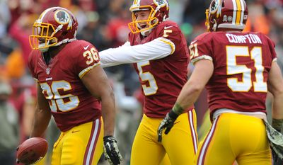 Washington Redskins punter Tress Way (5) congratulates Washington Redskins defensive back Tanard Jackson (36) after recovering a fumbled punt against the Tampa Bay Buccaneers at FedExField, Landover, Md., Nov. 16, 2014. (Preston Keres/Special for The Washington Times)