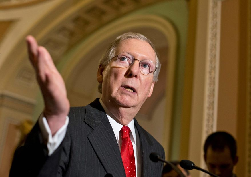 """""""This is the worst possible time to be tying our hands behind our backs,"""" said Sen. Mitch McConnell, the GOP's leader, who pointed to the advance of Islamic State terrorists in Iraq and Syria. """"The threat from ISIL is real. It's different from what we've faced before. And if we're going to overcome it — if our aim is to degrade and destroy ISIL, as the president has said — then that's going to require smart policies and firm determination."""" (Associated Press)"""