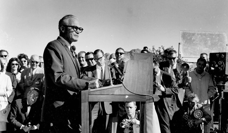 Sen. Barry Goldwater, Arizona Republican, announces his candidacy for the U.S. presidency in Phoenix on Jan. 3, 1964.
