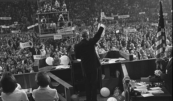 Barry Goldwater waves to delegates inside the Cow Palace at the 1964 Republican National Convention in San Francisco. As a senator, he strongly argued that it is a core American value and in the country's best interest to stand by Taiwan as it faced an existential threat from tyrannical communists. Goldwater's contribution to the U.S.-Taiwan relationship made him a figure of enormous importance and won him profound respect on the other side of the Pacific. He championed the passage of the Taiwan Relations Act (TRA), a landmark piece of legislation, which through bipartisan support, was signed into law in April 1979. To this day, that law provides the bedrock for U.S.-Taiwan relations. (Associated Press)