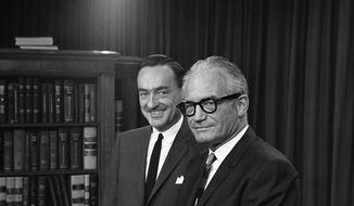 Sen. Barry Goldwater, then the GOP presidential nominee, and his vice presidential running mate, Rep. William E. Miller of New York, appear together on Capitol Hill, Aug. 14, 1964. In the fall election, the Conservative Party took the lead in promoting Goldwater after word went out that the state GOP was not to lift a finger for its presidential nominee. Although Goldwater lost New York by nearly 3 million votes on Election Day in 1964, he had a lasting impact on the state's fledgling conservative movement. (Associated Press)