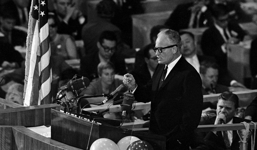 """Sen. Barry Goldwater accepts the Republican presidential nomination in San Francisco on July 16, 1964, with a blast at the Democrats and a promise that """"together we will win"""" in the November election. (associated press photographs)"""