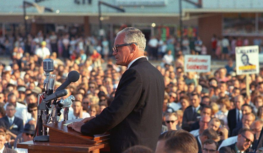Shining moment: Barry Goldwater lost the presidential election 50 years ago, but he won the hearts of a new generation of conservatives. Many of those who have carried his torch will celebrate and remember at a dinner Tuesday in Washington. (Associated Press)