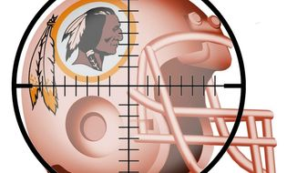 Illustration on  targeting the Washington Redskins' name by Alexander Hunter/The Washington Times