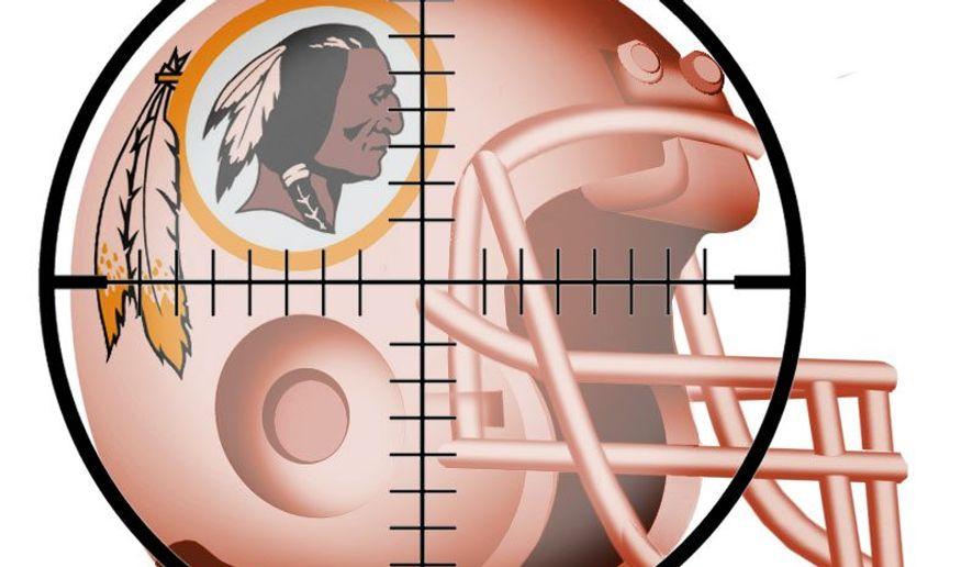 Illustration on  targeting the Washington Redskins' name by Alexander Hunter/The Washington Times