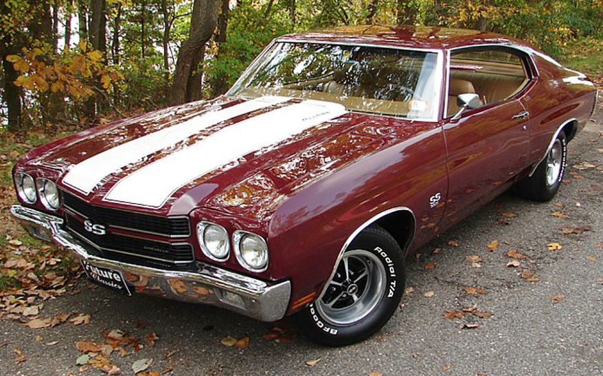 """1970 Chevrolet Chevelle SS 396 - a mid-sized automobile produced by the Chevrolet division of General Motors in three generations for the 1964 through 1977 model years. Part of the GM A-Body platform, the Chevelle was one of Chevrolet's most successful nameplates. 1969 Chevelles were billed as """"America's most popular mid-size car."""" They showed only minor changes for 1969, led by revised front-end styling. A single chrome bar connected quad headlights with a revised front grille, now cast in ABS plastic, and a slotted bumper held the parking lights. Taillight lenses were larger and more vertical, flowing into the quarter panels. Front vent windows began to fade away now that Astro Ventilation was sending outside air into several Chevelle models. The Chevelle lineup slimmed down to Nomad, 300 Deluxe/Greenbrier, Malibu/Concours, and Concours Estate series, and the base 300 series was history. No longer a series of its own, the SS 396 turned into a $347.60 option package for any two-door model. That meant not just a convertible, sport coupe, or pickup, but even the pillared coupe and sport coupe in the lower-rent 300 Deluxe series. Fewer SS396-optioned 300 Deluxe coupes and sport coupes were built than their Malibu counterparts and they are solid gold for collectors. The Super Sport option included a 325-horsepower 396-cubic-inch V8 beneath a double-domed hood, along with a black-out grille displaying an SS emblem and a black rear panel. More potent editions of the 396 engine also made the options list, developing 350 or 375 horsepower."""