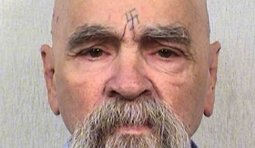 This Oct. 8, 2014 photo provided by the California Department of Corrections shows 80-year-old serial killer Charles Manson. (AP Photos/California Department of Corrections) ** FILE **