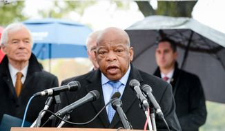 "Rep. John Lewis (D-Ga.) speaks at a memorial tree planting ceremony on the grounds of the U.S. Capitol Building in honor of Emmett Till, ""a young African-American man whose brutal killing in 1955 raised public awareness that led to important civil rights reforms in our nation."" , Washington, D.C., Monday, November 17, 2014. (Andrew Harnik/The Washington Times)"