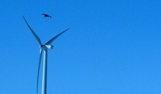 In this April 18, 2013 file photo, a golden eagle is seen flying over a  wind turbine on Duke energy's top of the world wind farm in Converse County Wyo. A wind-energy company is suing in federal court to block the government from releasing information to The Associated Press about how many birds are found dead at its facilities. The AP sought the information from the Interior Department in March 2013 under the U.S. Freedom of Information Act. It is part of the AP's investigation into bird deaths at wind farms. Wind energy companies objected, including Pacificorp of Portland, Oregon. They said the information was confidential, submitted voluntarily and should not be revealed.  (AP Photo/Dina Cappiello, File)