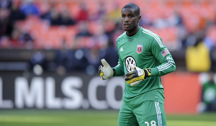 D.C. United goalkeeper Bill Hamid (28) looks on during the second half of an MLS soccer game against the Columbus Crew, Saturday, March 23, 2013, in Washington. Columbus won 2-1. (AP Photo/Nick Wass) **FILE**