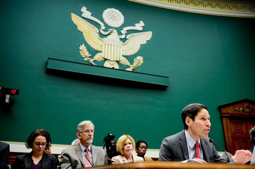 Centers for Disease Control and Prevention Director Dr. Thomas R. Frieden speaks at a House Subcommittee on Oversight and Investigations hearing on Capitol Hill for an update to the U.S. public health response to the Ebola Outbreak, Washington, D.C., Tuesday, November 18, 2014. (Andrew Harnik/The Washington Times)
