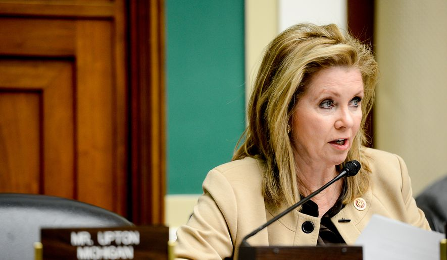 Rep. Marsha Blackburn, Tennessee Republican, questions witnesses at a House Subcommittee on Oversight and Investigations into the U.S. response to the Ebola outbreak in November. (Andrew Harnik/The Washington Times)