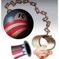 Illustration on the real purpose of Obamacare by Alexander Hunter/The Washington Times