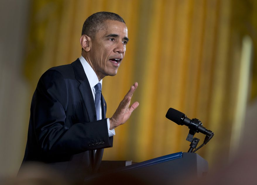 President Obama gestures as he speaks during an event in the East Room of the White House in Washington, Wednesday, Nov. 19, 2014. (Associated Press) ** FILE **