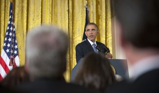 President Barack Obama hosts 'ConnectED to the Future', in the East Room of the White House in Washington, Wednesday, Nov. 19, 2014. The conference is with superintendents and other educators from across the country who are leading their schools and districts in the transition to digital learning. (AP Photo/Pablo Martinez Monsivais)