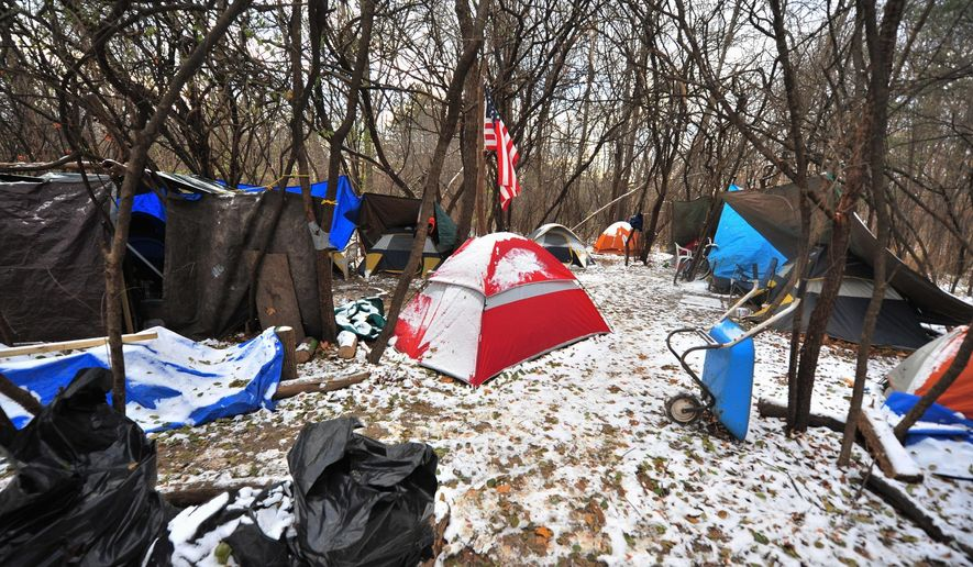 In this Nov. 18, 2014 photo, a variety of tents make up a homeless encampment along U.S. 23 on Ann Arbor's southeast side, in Michigan. The camp is under scrutiny from the city following complaints by neighbors. (AP Photo/The Ann Arbor News, Ryan Stanton)  LOCAL TELEVISION OUT; LOCAL INTERNET OUT