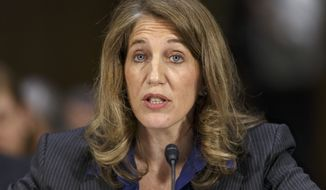 Sylvia Mathews Burwell, then-President Barack Obama's nominee to become secretary of Health and Human Services testifies on Capitol Hill in Washington in this May 8, 2014, file photo. (AP Photo/J. Scott Applewhite, File)