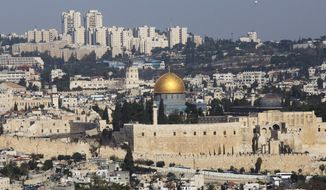 The Dome of the Rock Mosque in the Al Aqsa Mosque compound is seen in Jerusalem's old city Thursday, Nov. 20, 2014. Tensions in the region have spiked in recent weeks, largely over the disputed holy site in Jerusalem sacred to both Muslims and Jews. (AP Photo/Sebastian Scheiner)