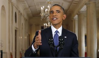 """President Barack Obama speaks during a nationally televised address from the White House in Washington, Thursday, Nov. 20, 2014. Spurning furious Republicans, President Barack Obama unveiled expansive executive actions on immigration Thursday night to spare nearly 5 million people in the U.S. illegally from deportation and refocus enforcement efforts on """"felons, not families.""""  (AP Photo/Jim Bourg, Pool)"""