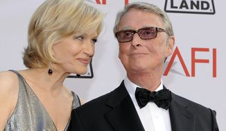 Journalist Diane Sawyer and director Mike Nichols arrive at the AFI Lifetime Achievement Awards honoring Mike Nichols, at Sony Pictures Studios in this June 10, 2010, file photo taken in Culver City, Calif. ABC News confirms director Mike Nichols and husband of Diane Sawyer died Wednesday evening Nov. 19, 2014. He was 83. (AP Photo/Chris Pizzello)