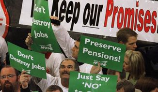 In 2011, police officers, teachers, caregivers and other rank-and-file public servants protested Illinois' pension situation. (Associated Press/File)