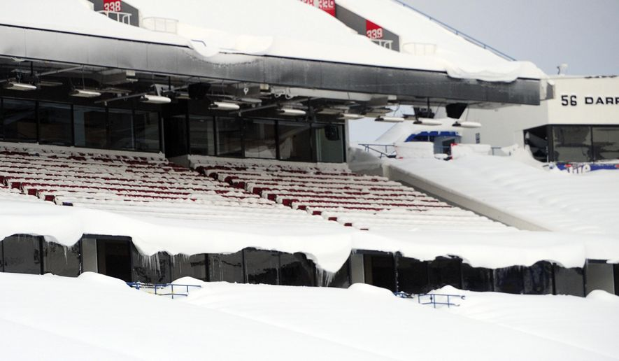 """Snow covers the seats and field at Ralph Wilson Stadium in Orchard Park, N.Y. Friday, Nov. 21, 2014. Snowed out in Buffalo, the Bills are heading to Detroit to play their """"home"""" NFL football game against the New York Jets on Monday night, Nov. 24, 2014. (AP Photo/Gary Wiepert)"""