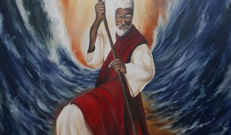 "A portrait of Moses parting the Red Sea by artist Leonard ""Rusty"" Medlock, on display at his home in DeSoto, Texas, on Nov. 10, 2014.  A former prison inmate, he relearned his passion while incarcerated.  He will be attending the upcoming National Prison Summit on Mass Incarceration, to be held on Nov. 14-15 in Dallas. (AP Photo/The Dallas Morning News, Michael Ainsworth)"